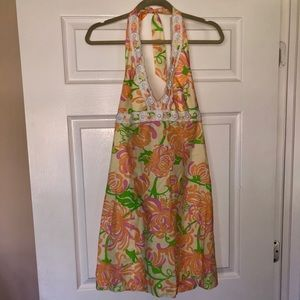 Lilly Pulitzer Beaded Halter Dress Size 10